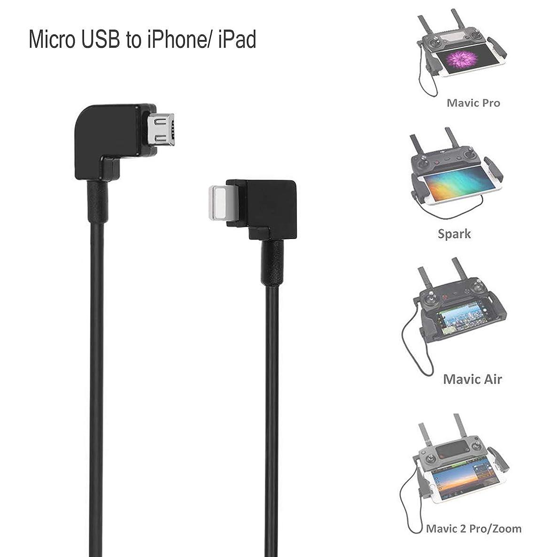 O'woda Micro USB to iPhone / iPad Data Cable 90 Degree Right Angel OTG Cord for DJI MAVIC PRO / SPARK / Mavic Air / Mavic 2 Pro & Zoom