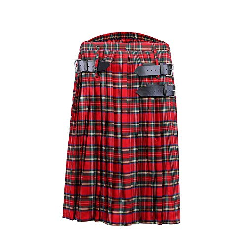 Scottish Mens Kilt Traditioneller Plaidgürtel Plissee Bilaterale Kette Braun Gothic Punk Scottish Tartan M Color1