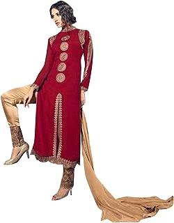 Red Velvet Festive Wedding Straight Salwar Kameez Suit Pants Style Churidar Dupatta Muslim Indian 7356