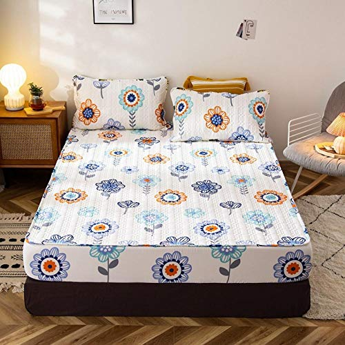 King Bed Sheet Fitted,Cotton Thick Waterproof Printed Fitted Sheets, Anti-Urine And Dust-Proof Mattress Cover In Autumn And Winter-M_120*200+30cm