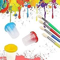 Pittura Spazzole Kit,56 Pezzi Di Pennelli In Spugna E Kit Di Tazze Di Vernice, Set Di Pennelli Per Bambini Con Grembiule, Set Di Pittura Per Bambini Per Apprendimento Precoce Per Bambini E Progetti #6