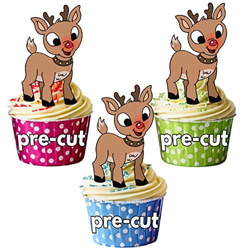 AK Giftshop PRE-CUT Kerst Rudolph/Rendier - Eetbare Cupcake Toppers/Cake Decoraties (Pak van 12)