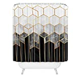 Society6 69785-shocur Elisabeth Fredriksson Charcoal Hexagons Shower Curtain, 72' x 69', Black and White