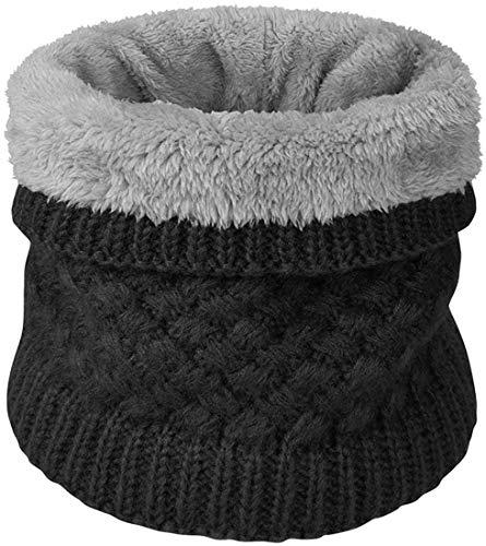 heekpek Calentador de Cuello Bufanda de Tubo Lazo para Hombre y Mujer Multifuncional Grueso y Cálido Bufanda y Gorra para Deportes de Invierno Desgaste de Pareja Fulares (Negro)