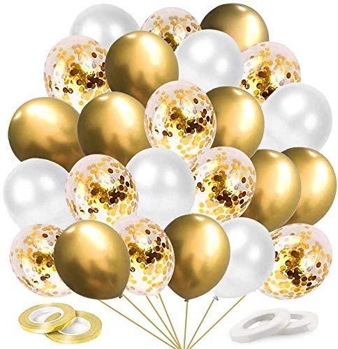 N\C Globos de Oro metálico, 60 Piezas de Globos de Confeti Dorado, Globos de Boda para Bodas, Globos de Helio para cumpleaños, Bodas, Baby Shower, día de San Valentín, 12 Pulgadas