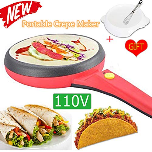2020 New Portable Electric Crepe Maker Non-Stick Crepe Pan 110V Automatic Temperature Control Griddle Crepe Maker for Crepe Eggs Blintzes, Pancakes, Bacon, Tortilla