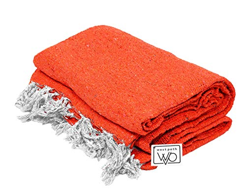 Open Road Goods Handmade Orange Yoga Blanket - Thick Mexican Blanket or Throw - Made for Yoga!