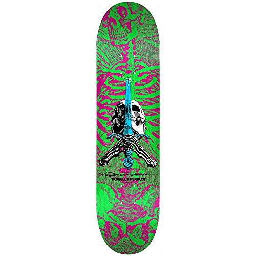 "Powell Peralta Skull and Sword Skateboard Deck, Pink/Green, 8.0"""