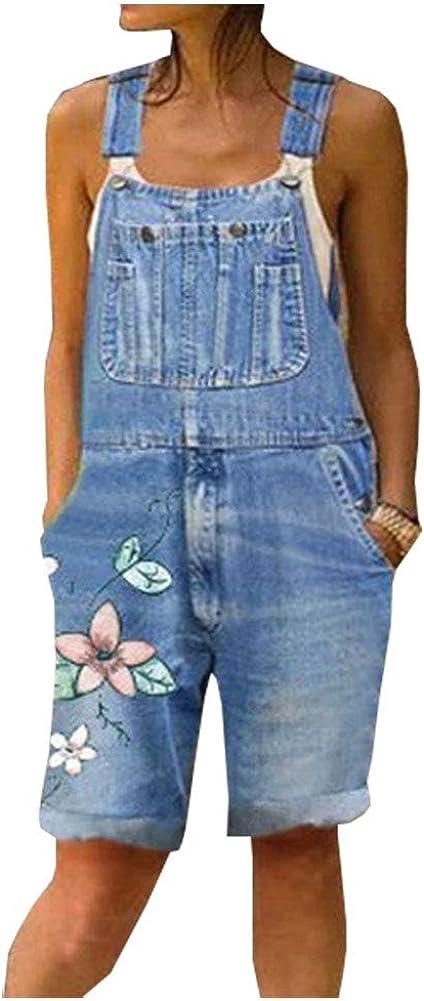 SCOFEEL Women's Adjustable Strap Denim Bib Overalls Shorts Romper with Flowers