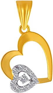 P.C. Chandra Jewellers 14KT Yellow Gold and American Diamond Pendant for Women
