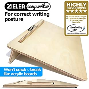 Ergonomic Writing Slope/Slant Board for better writing posture - by ZIELER Easywriter . High quality, lacquered wood finish with 20°degree angle. Suitable for left & right-handed use. Space saving design - A3 size