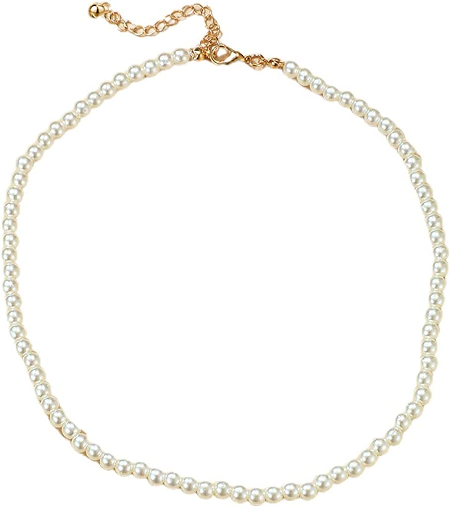 Faux Pearl Stone Chian Necklace,Adjustable Jewelry Collar