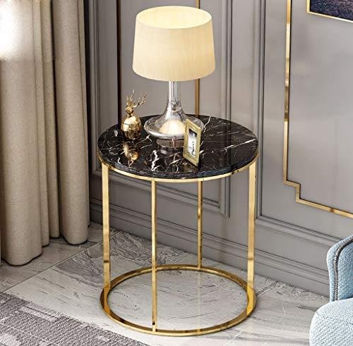 YWXCJ Tables Basses Table Basse Nordique Moderne en marbre avec canapé d'angle côté Armoire côté Balcon en Fer forgé Petite Table Basse (Couleur : Noir)