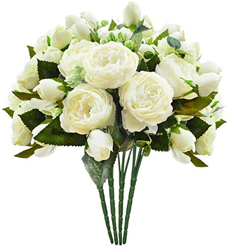 Schliersee Small Artificial Flowers Peony Silk Fake Flower Bouquet for Valentines Day Gifts Home Wedding Decoration Cream Color, 4pcs