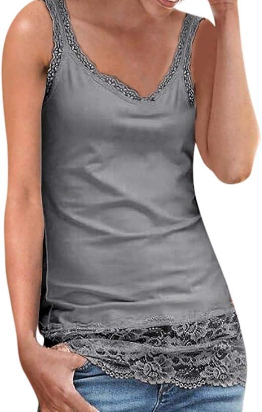 POLP Blusa sin Mangas de Fiesta Mujer Tops Sexy de Remiendo de Playa de Moda Camiseta de Tirantes Encaje Talla Grande Camisa Verde Rosa Gris Blanco ...