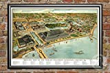 Ted's Vintage Art Chicago Illinois 1893 Map Wall Art Print   Museum Quality Matte Paper   Ideal for Home & Kitchen Decor   Digitally Restored Historic Lithograph Poster 18' x 24' Framed Print