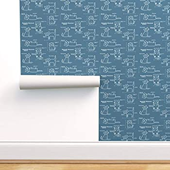 Peel-and-Stick Removable Wallpaper - Cat Novelty Cats Blue Blueprints Funny Technical by Amber Morgan - 24in x 72in Woven Textured Peel-and-Stick Removable Wallpaper Roll