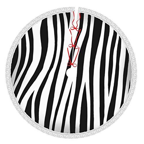 Faldas de árbol de Navidad con borlas de 30 pulgadas Zebra Print Animal Skin Tiger Stripes Animals Faldas de...