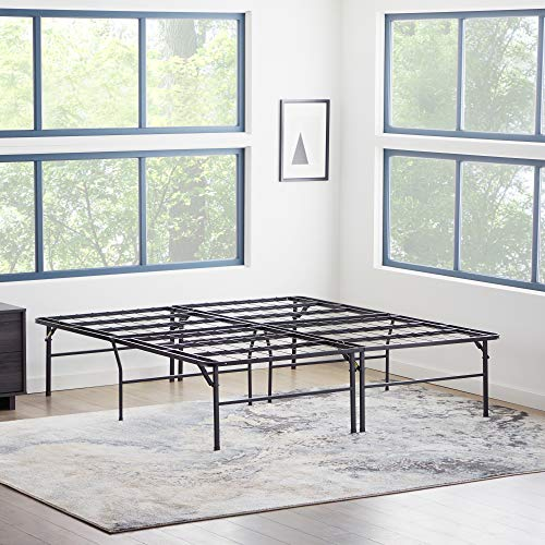 MALOUF HIGHRISE Folding Metal Bed Frame 14 or 18 Inch High Platform Bed Base – Strong and Sturdy Support – Quiet, Noise Free – Full