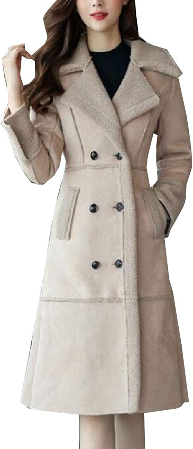 Maweisong Women's Wool Trench Double Breasted Blend Pea Outwears Maxi