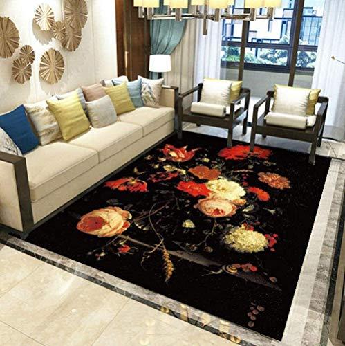 Schwarzes Blumenmuster Gedruckte Rechteckige Teppiche Weiches, Verschleißfestes Sofa Couchtisch Schlafzimmer Nachttisch Dekor Bodenmatte (Größe: 160 & Mal; 230 cm)