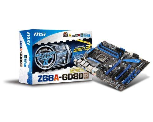 MSI Z68A-GD80(G3) Mainboard Sockel 1155 (Intel Z68 (B3), DDR3 Speicher, 3X SATA III, 2X USB 3.0)