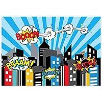 Allenjoy 7x5フィート 写真撮影用スーパーヒーロー背景幕 スーパーシティの風景 満月夜 ビルディング 男の子 誕生日 バーティー デコレーション イベントバナー用品 フォトスタジオブース背景 ベビーシャワー フォトコール