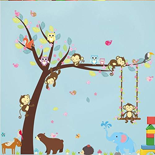 Behang Muralsforest Dieren Muursticker Aap Beer Boom voor Kinderen Kamer Kinderen Muursticker Kwekerij Slaapkamer Decor Poster Mural Stickers