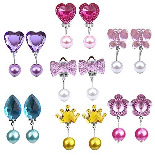 Natuce 7 Pares Pendientes de Clip Pendientes de diseño sin Perforaciones Vestir Accesorios de joyería Princesa para niñas niños pequeños en 1 Cajas Rosa (Cristal y Perla)