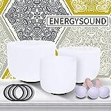 ENERGYSOUN 432 Hz Perfect Pitch Chakra Tuned Set de 3 cuencos de cristal de cuarzo esmerilado de 11 pulgadas D 9 pulgadas F 7 pulgadas B + mazos y juntas tóricas