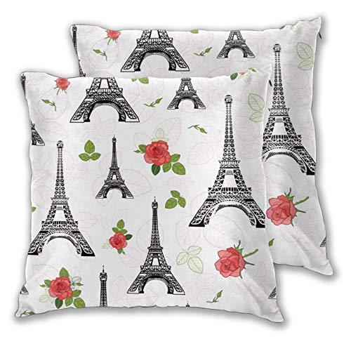 Fundas de cojín, Juego de 2, Negro Rojo Eifel Tower Paris Roses Flowers SurDecorative Funda de cojín Cuadrada para sofá, Dormitorio, Coche, 16 'x 16' en