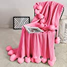 Fomoom Throw Blanket for Couch, Pink Pom Pom Throw Blanket Knit Blanket with Pom Poms, Fuzzy, Fluffy, Plush, Soft, Cozy, Warm Knitted Cover, Decorative Cotton Blanket for Sofa Bed