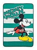 ミッキーマウス[キャラクターロゴ ボーダー柄ブランケット] ディズニー (グリーン)