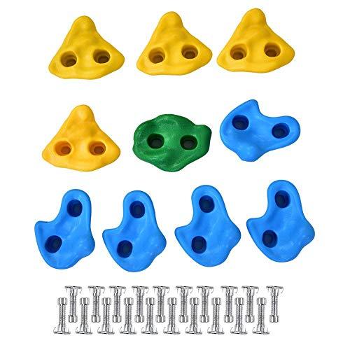 Juego de 10 enchufes escalonados para niños, incluye Material de fijación. Piedras para escalada interior para pared de escalada. Boulder de colores para torre de juegos con tornillos.