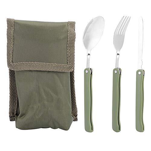 Dilwe Juego de cubiertos, 3 unidades, portátil, plegable, para picnic, cubiertos, tenedor,...
