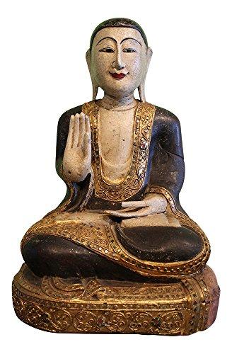 Asien Lifestyle Sitzender Mönch Buddha aus Holz Geschnitzt Mandalay Buddha Figur | Holzfigur