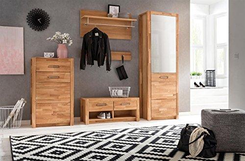 lifestyle4living Garderoben-Set in Wild-Eiche Massiv-Holz geölt, 252 cm | Flurgarderobenset mit Garderobenschrank inkl. Spiegel, Kommode, 2 Garderoben-Paneelen und Sit