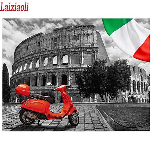 5D Completo Grande Pintura De Diamantes Bordado De La Bandera Italiana Imagen De Diamantes De Imitación Taladro Redondo Negro Blanco Rojo Ciudad Paisaje 40X50Cm(16X20 Pulgadas)