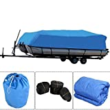 Simply-Me Boat Cover 17-19 ft 600D Oxford Fabric Waterproof Boat Covers Pontoon Runabout Boat Cover with Storage Bag,Blue