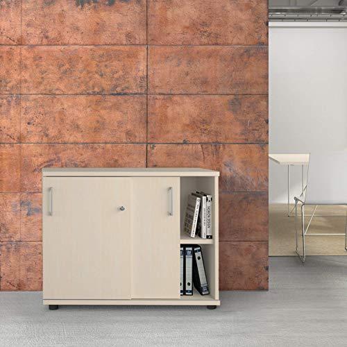 Uni schuifdeurkast 1 meter breed afsluitbaar 2OH esdoornkast kantoorkast