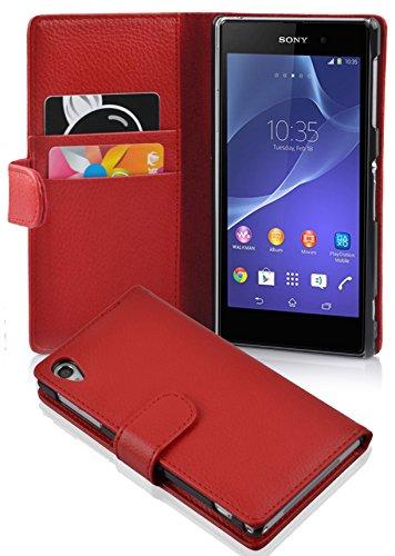 Cadorabo Custodia Libro per Sony Xperia Z2 in Rosso Cremisi - con Vani di Carte e Funzione Stand di Similpelle Strutturata - Portafoglio Cover Case Wallet Book Etui Protezione