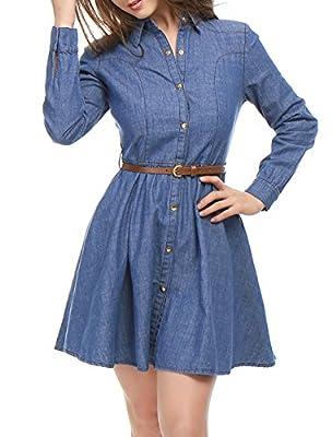 Allegra K Women's Long Sleeves Belted Flared Above Knee Denim Shirt Dress S Blue