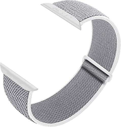 Nylon Sport Loop Band Compatible with Apple Watch Bands 38mm 40mm 42mm 44mm, Women Men Velcro Braided Elastic Wristbands Replacement Band for iWatch Series 6 5 4 3 2 1 SE,(Light Grey,38mm/40mm)