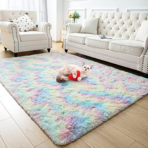 Zareas tapetes modernos peludos para sala de estar 3x5 Rainbow Shag tapete para quarto fofo macio felpudo para quarto de crianças, meninas, meninos, pele longa, dormitório, berçário, mini spa, tapete de decoração de casa com destaque confortável