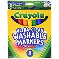 Crayola Ultra Clean Washable Markers, Wedge Tip, Assorted Colors, 8 Count
