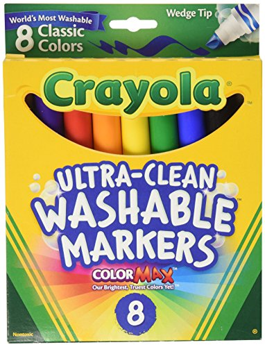 Crayola Ultra Clean Washable Markers, Wedge Tip, Assorted Colors, 8 Count, 58-7208