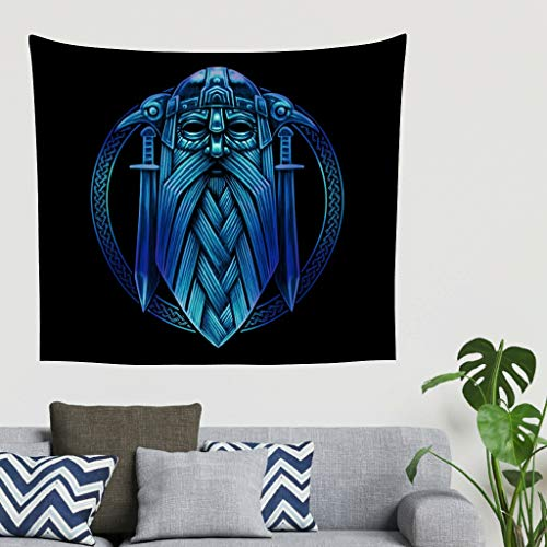 Gypsy Tapestry Vintage Norse Viking Warrior Helmet Swords Tattoo Print Wall Hanging Abstract Wall Tapestry Wall Blanket Beach Shawls White 40x59inch