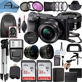 Sony Alpha a6400 Mirrorless Digital Camera 24.2MP Sensor with 16-50mm Lens 2 Pack SanDisk 32GB Memory Card Backpack Full Size Tripod & A-Cell Accessory Bundle  Black