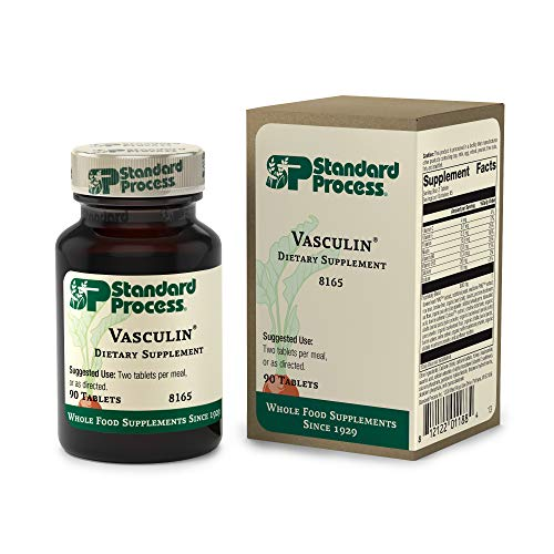 Standard Process Vasculin - Whole Food Heart Health and Antioxidant with Thiamine, Vitamin B6, Niacin, Calcium, Vitamin C, Vitamin E, and Vitamin B12-90 Tablets
