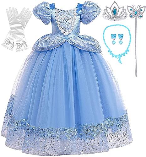 Romy's Collection Princess Cinderella Blue Toddler Girls Costume Dress Up (5-6, Blue 05)